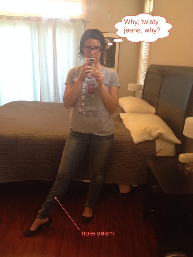 twisty jeans